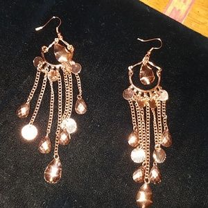 Cooper Tone Chandelier Earrings